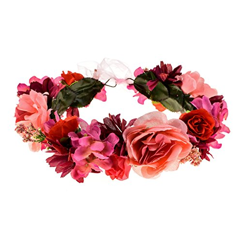 Love Sweety Rose Flower Headband Floral Crown Garland Halo (5# Burgundy) ()