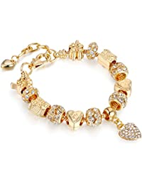 Bracelets Gold Plated Snake Chain Bracelets Glass Crystal Beads Charms Bracelets with Fine Gift Box