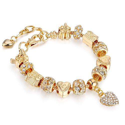 Bracelets Gold Plated Snake Chain Bracelets Pendant Crytal Heart Glass Beads Charms Bracelets for Women with Fine Gift Box - Glass Gold Chains Bracelets