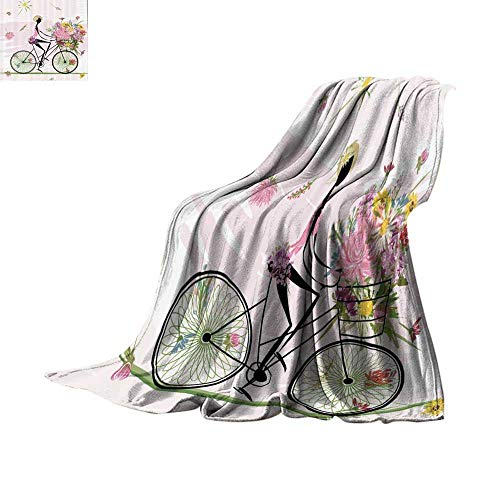Custom homelife Throw Blanket Girl Riding a Bike with Watercolor Daisy Flowers Basket Plush Throw Blanket Bed or Couch 60