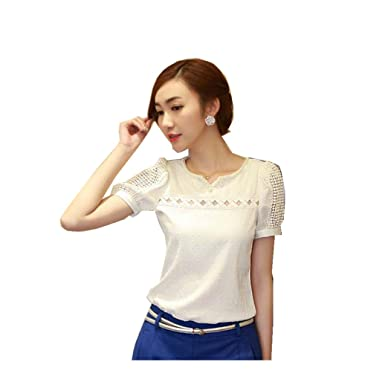 4568a90880063 YANG-YI Women Lace Short Sleeve Shirt V Neck Doll Chiffon Blouse Sweet  Sytle Tops