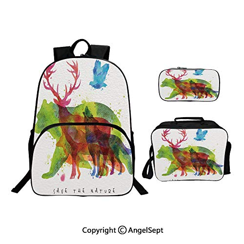 (School Backpack With Lunch Bag Pencil Bag One Set,Alaska Animals Bears Wolfs Eagles Deers in Abstract Colored Shadow like Print Multicolor,Lightweight Laptop Bag For Teen Boys And Girls)