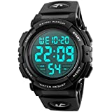 Men's Sports Watch Military Classic Stopwatch Large Dial Electronic LED Backlight Wristwatch 50M Waterproof Boys Digital Watch - Black
