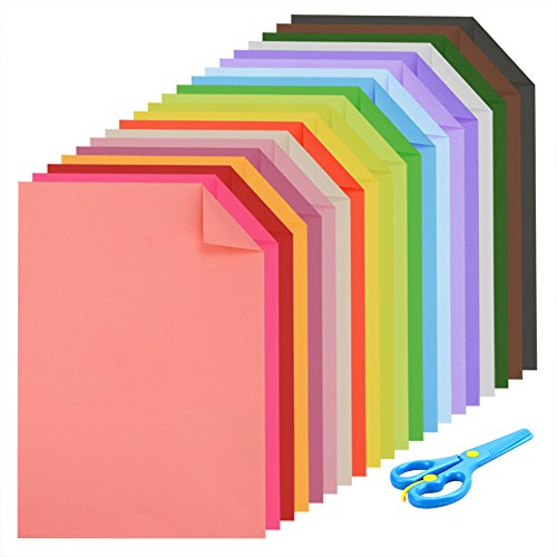 Price comparison product image Caydo Double Sided Lightweight Construction Paper A4 Coloured Paper 20 Colors 60 Sheets and 1 Pieces Plastic Safety Scissors