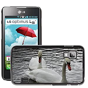 Super Stella Slim PC Hard Case Cover Skin Armor Shell Protection // M00107645 Swan Love Bird Swans Afloat // LG Optimus L5 II Dual E455 / E460