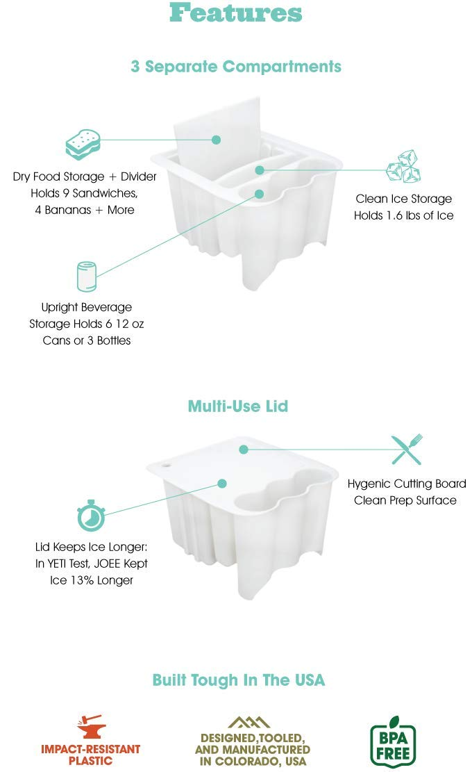 JOEE Cooler Organizer (Large) 12.5'' Wide- The World's Best Cooler Accessory with 5 Amazing Features Order Now by JOEE