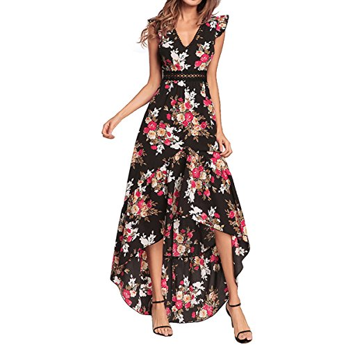 Maxi Boho Long Black Vintage Dress Bohemian Women's Floral Print Chiffon AHATECH OFUR6qc