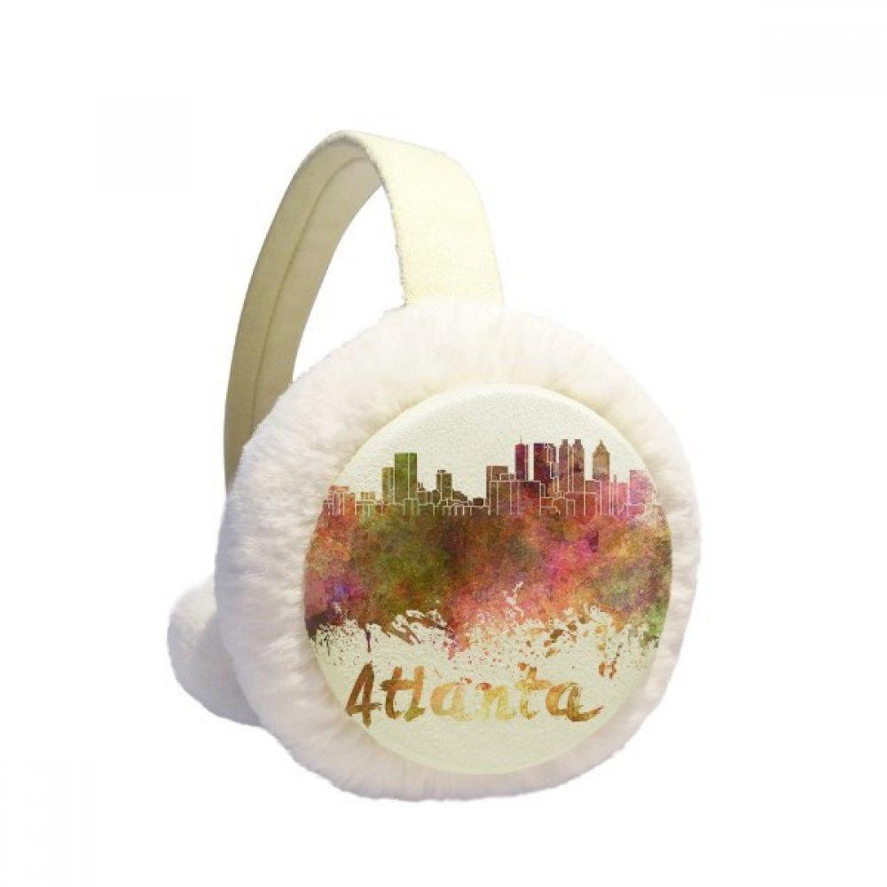 Atlanta America City Watercolor Winter Earmuffs Ear Warmers Faux Fur Foldable Plush Outdoor Gift