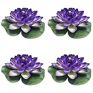 Herxuhouse 4 Pieces Floating Flower Floating Pond Decor Water Flower Foam Artificial Lotus for Home & Party Decoration & Holiday Celebration (Blue)