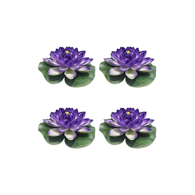 silk flower arrangements herxuhouse 4 pieces floating flower floating pond decor water flower foam artificial lotus for home & party decoration & holiday celebration (blue)