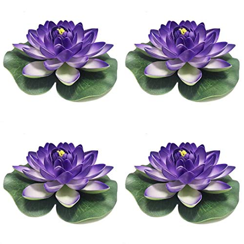 - 4 Pieces Floating Flower-Herxuhouse Floating Pond Decor Water Flower Foam Artificial Lotus for Home & Party Decoration & Holiday Celebration (Blue)