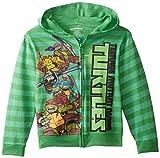 Teenage Mutant Ninja Turtles Little Boys' Striped Zip Up Hooded Fleece, Kelly Green, 4
