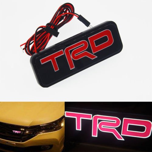 Tacraft LED TRD Tundra Tacoma Camry Corolla Yaris Grill Grille Kidney 3D Red LED Illuminated Emblem Badge For Toyota LED