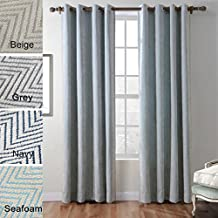 COFTY Polyester Chenille Jacquard Zig Zag Wave Soft Handfeel Curtain Panel Drapes - Nickle Grommet - Seafoam - 72Wx72L Inch (1 Panel)
