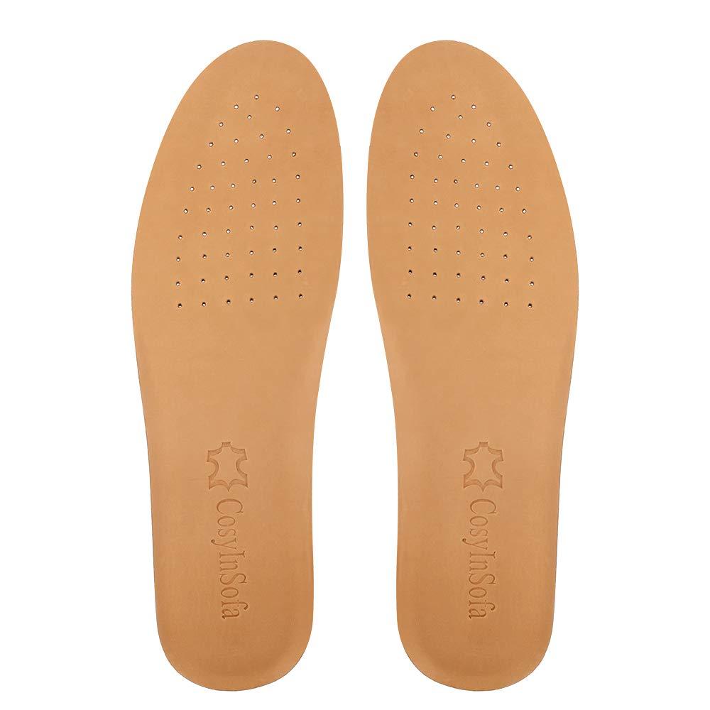 COSYINSOFA Leder Einlegesohlen, Stoßdämpfungs Leder Einlegesohlen für Männer und Frauen, ultradünne, weiche und komfortable Ersatz Innensohlen für Arbeitsschuhe und Stiefel