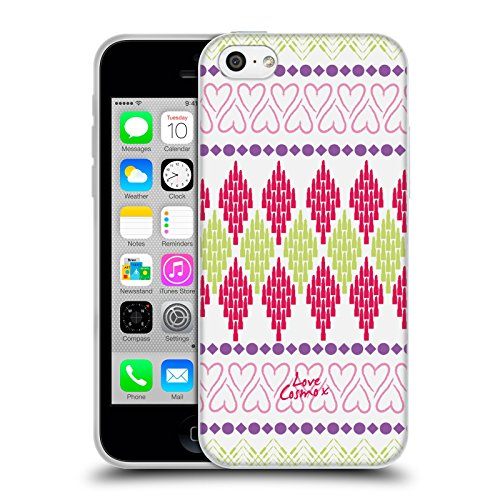 Official Cosmopolitan Heart Aztec Brights Soft Gel Case for Apple iPhone 5c