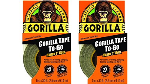 "Gorilla 6100116 Duct Tape To-Go (2 Coterie), 1"" x 10 yd., Black"