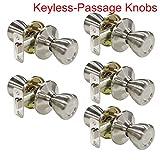5 Pack Probrico Interior Door Lock Passage Keyless Doorknobs Door Knob without Key Door Handle Security Door Handleset Lockset Satin Nickel-Door Knob 576