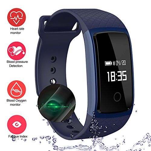 LogHog Fitness Tracker,IP67 Waterproof Sports Smart Wristband with Blood Oxygen Monitor/Blood Pressure/Heart Rate Monitor for Android Phone and IOS IPhone (Blue) by LogHog