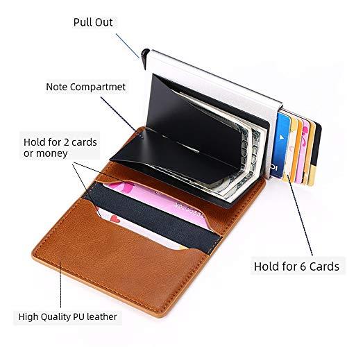 Wallet Slim Wallet Credit Card Holder for Men RFID Fiber Money Clip Wallet Metal Leather Material with Money Pocket (Brown Leather)