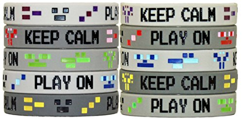 Gypsy Jade's Video Game 8-Bit Pixel Style Wristbands - Great for Mining Themed or any Crafting Style Video Game - Pack of 10! (Best 8 Bit Games)