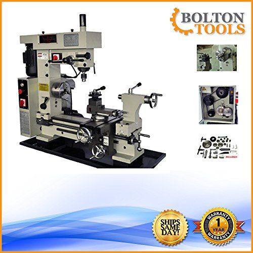 "Bolton Tools 16"" x 20"" Combo Metal Lathe/Mill Drill Runs On 2 Separate Motors 