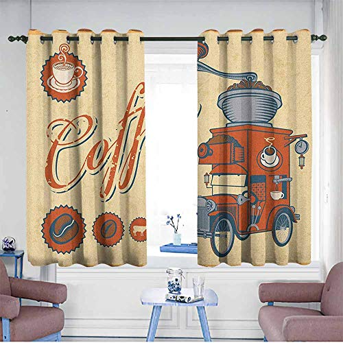 Basket Weave Coffee Grinder - HOMEDD Grommet Curtains,Retro Artsy Commercial Design of Vintage Truck with Coffee Grinder Old Fashioned,Blackout Draperies for Bedroom,W63x63L Cream Orange Grey