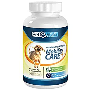 Glucosamine for Dogs with Chondroitin + MSM + Perna + Manganese by Petvitalix, Best Arthritis Pain Relief Joint Health Supplement for Pets Recommended by Veterinarians; Professional Strength Dog Supplement for Joints and Hip Dysplasia; Medicine Treats; Pain Reliever Chews and Pills; No Liquid or Powder to Treat; Easy Chewable Tablets; #1 Hip and Joint Supplement for Dogs of All Sizes, Ages, Breeds; 90 Chewable Tablets; 100% Made in USA; Healed or FREE Money Back GUARANTEE