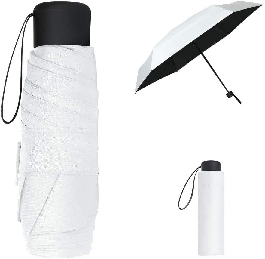 Paraguas Plegables y Compacto Resistencia UV /& Impermeable Azul Cielo Vicloon Mini Paraguas del Sol,Paraguas de Viaje Port/átil con Dise/ño de Esqueleto Mejorado y 210T Negro Tela de Goma