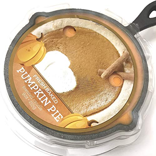 Cast Iron Skillet Pumpkin Pie Scented Candle in Iron Pot Trivet, Use as Wax Warmer Afterwards, 8 inches (Candle Skillet)