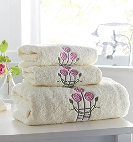 3pcs Charles Rennie Mackintosh funda bordado toalla de mano toalla de baño, crema: Amazon.es: Hogar
