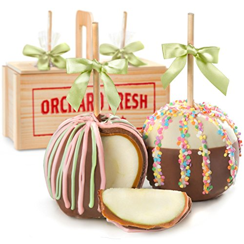 d White Chocolate Covered Caramel Apples Gift Crate, Insulated Shipper with Ice ()