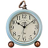 JUSTUP Table Clock, Vintage Non-Ticking Table Desk Alarm Clock Battery Operated with Quartz Movement HD Glass for Bedroom Living Room Kids (Arabic)