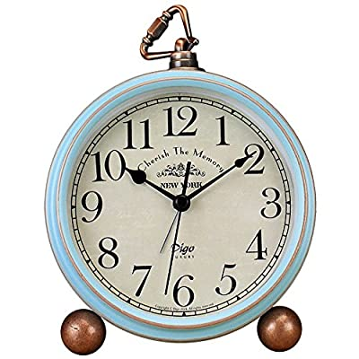 JUSTUP Table Clock, Vintage Non-Ticking Table Desk Alarm Clock Battery Operated with Quartz Movement HD Glass for… - Vintage alarm clock, bring home furnishing high-end elegant atmosphere. Metal frame, HD glass, easy to read. Great for indoor decoration. Non-ticking, quiet and smooth sweeping quartz movement and second hand, ensure a good sleep and best working environment - clocks, bedroom-decor, bedroom - 51Ae%2Bu77mxL. SS400  -