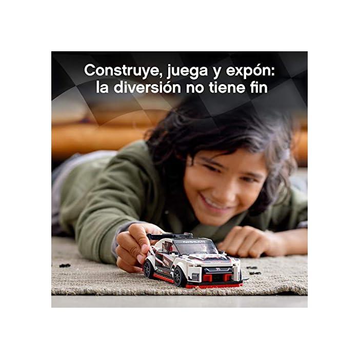 51Ae%2Bz%2BDgcL Una oportunidad única de poseer una réplica LEGO con detalles de gran realismo del legendario Nissan GT-R NISMO. Es el regalo perfecto para los apasionados de la construcción de juguetes, ¡y de conducirlos en veloces carreras! El Nissan GT-R NISMO en versión construible y 1 minifigura con mono de competición Nissan. Esta maqueta fascinará a niños y fans de los coches, y les abrirá las puertas tanto al juego independiente como a la posibilidad de organizar carreras con sus amigos. La miniversión del Nissan GT-R NISMO (novedad en enero de 2020) se puede construir y exponer, o usar para competir contra otros coches LEGO Speed Champions.