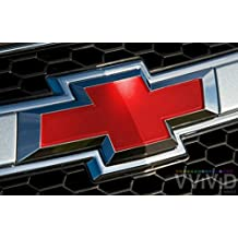 "VVIVID Red Gloss Auto Emblem Vinyl Wrap Overlay Cut-Your-Own Decal for Chevy Bowtie Grill, Rear Logo DIY Easy to Install 11.80"" x 4"" Sheets (x2)"