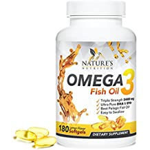 Omega 3 Fish Oil w/Triple Strength EPA & DHA 2400mg. Highest Concentration w/Fatty Acids. Supports Heart Health & Brain Development, Burpless, Non-GMO Supplement Pills, Lemon Flavor - 180 Capsules