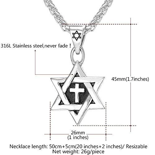 Men Enamel Cross Star of David Pendant with Steel Chain Titanium Necklace Religious Jewish Jewelry