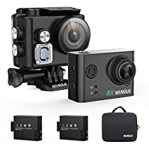 Action Cam, WiMiUS Action Cam 4k WiFi Impermeabile 40m Fotocamera Subacquea Full HD 12MP Sport Action Camera e 2 Batterie con Borsa Portatile (Nero)