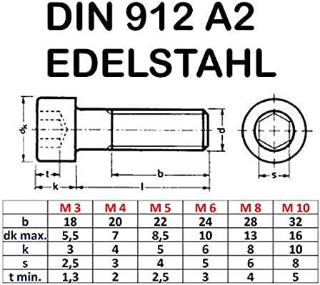 10 Zylinderkopfschrauben M5 x 40 Edelstahl mit Innensechskant Zylinderschrauben DIN 912 A2