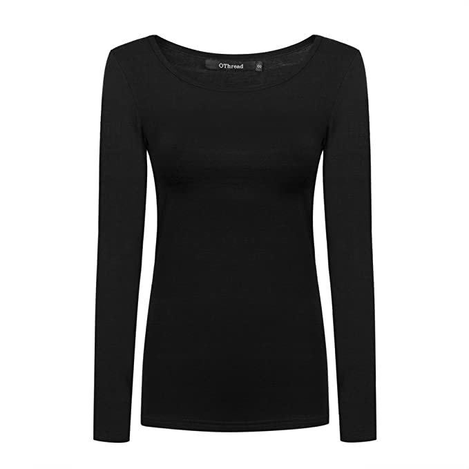 OThread Women's Plain Basic Spandex Long Sleeves T-Shirt Scoop Neck Tee  (Small,