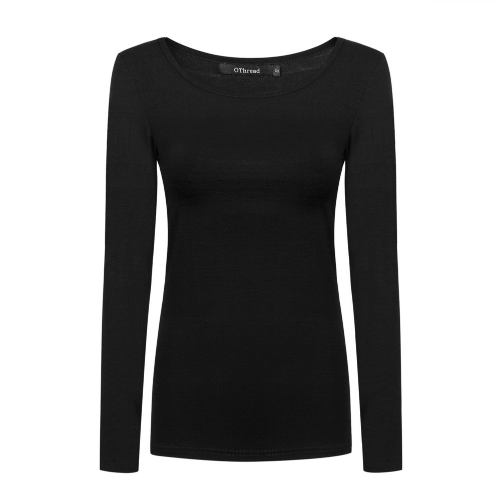OThread & Co. Women's Long Sleeves T-Shirt Scoop Neck Plain Basic Spandex Tee (Medium, Black)