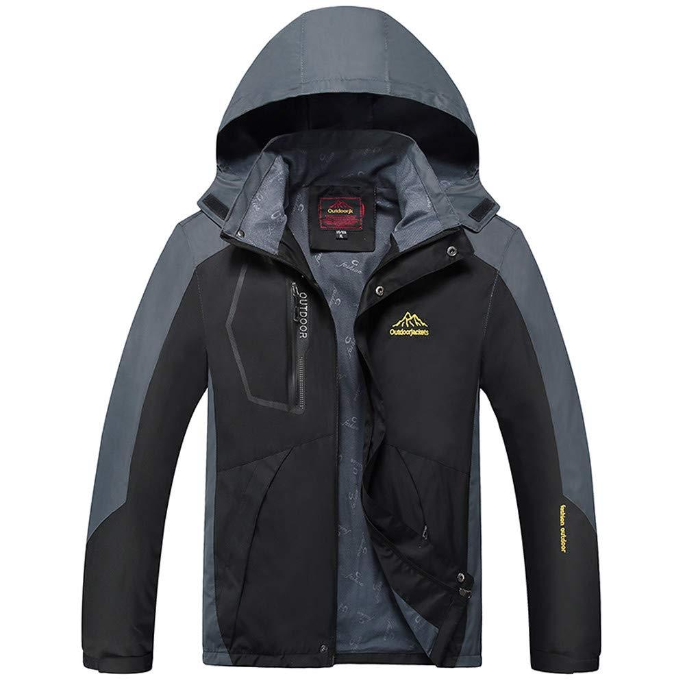 Mens Flight Suit,Mens Outdoor Hoodie Hat Removable Sport Coat,Trench Coat Men