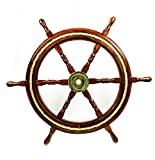 Nagina International Nautical Wood Crafted Ship Wheel with Inlayed Pirate's Rustic Rope | Ocean Maritime Navy Decor (12 Inches)