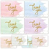 Gold And Watercolor Thank You Cards for Thank You Notes! Bulk Set of 48 Blank Cards with Envelopes for Baby Shower Note Cards, Wedding Thank You Cards and Bridal Shower Thankyou Card