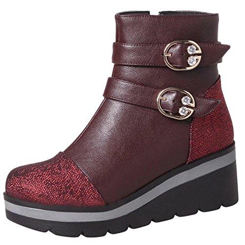 AIYOUMEI Damen Geschlossen Plteau Keilabsatz Stiefeletten mit Schnalle und Strass Wedge Ankle Boots Weinrot