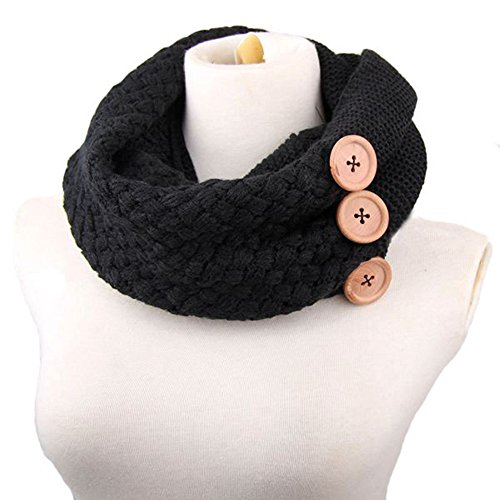 Menglihua Womens Infinity Scarf Pashmina Blend Chunky Ribbed Knit Buttons Circle Cowl Black One Size