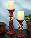 Set of 2 Primitive Country Rustic Stars Pedestal Pillar Candle Holder Home Accent Decoration (red)