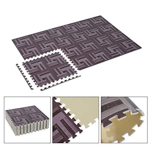 Alitop 72SqFt Interlocking Floor Mat EVA Foam Puzzle Tiles Gym Exercise Kid Dark Wood Grain