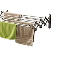 AERO W Space Saver Racks Stainless Steel Wall Mounted Collapsible Laundry Folding Clothes Drying Rack Heavy Weight Capacity Linear Ft Clothesline